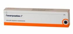 Гепатромбин Г, мазь д/рект. и наружн. прим. (65 МЕ+30 мг+2.233 мг)/г 20 г №1
